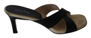 Calvin Klein Leather Heeled Flattering Comfortable Black Sandals
