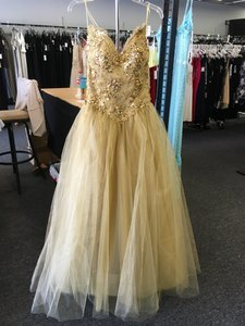 Gold Zola Keller Gold Tulle Ball Gown Dress