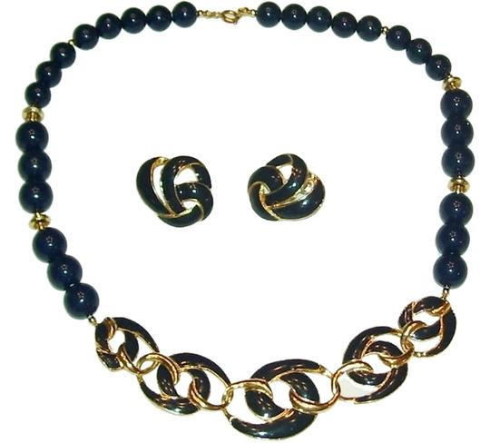 Unknown Navy Bead Necklace 20""