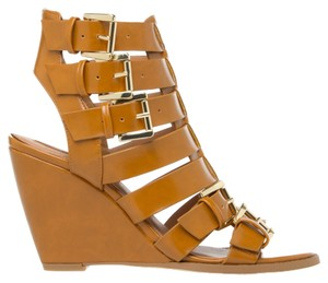 ShoeDazzle Tan Buckle Chic Faux Leather Wedges
