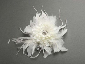 Ivory Silk Floral Dahlia Clip Fascinator with Feathers Hair Accessory
