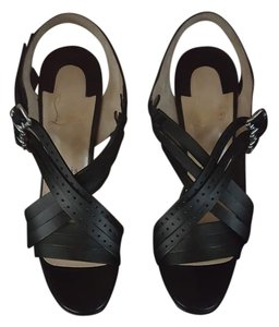 Christian Louboutin Strappy Louboutin Leather Black Sandals