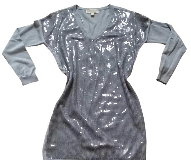 Michael Kors Sparkle Sweater Silver Sequins Dress
