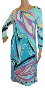 Emilio Pucci Summer Longsleeve Midi Blue Dress