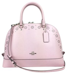 Coach F37238 Pink Leather Studded Satchel in Petal Pink
