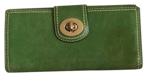 Coach Green Turnlock Leather Wallet