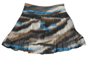 Kensie Cotton Silk Skirt black, brown, blue & white print