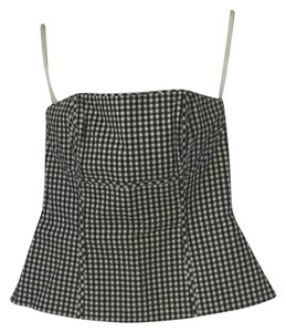 White House | Black Market Bustier Strapless Gingham Top Black and white