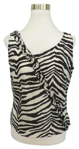 Neiman Marcus Zebra Print Career Silk Top Black White