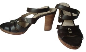 Brooks Brothers High Heel Crisscross Strap Leather brown Sandals