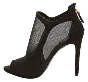 Guess Peep Toe Mesh Black Suede Boots