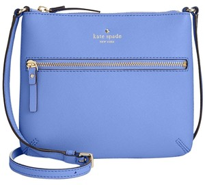 Kate Spade New With Leather Blue Gold Tenley Cross Body Bag