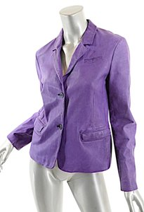 Jil Sander Leather Distressed Purple Jacket