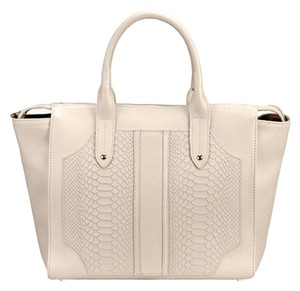 GiGi New York Collection Studded Leather Satchel in Beige