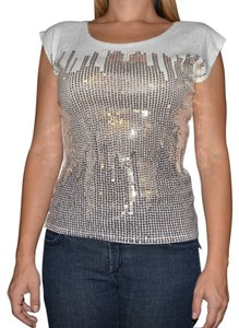 H&M Metalic Sequin T Shirt White/Metalic