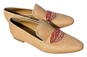 Stella McCartney British Whimsical Tatami Woven Straw Fabric with Crystal Embellishment Flats