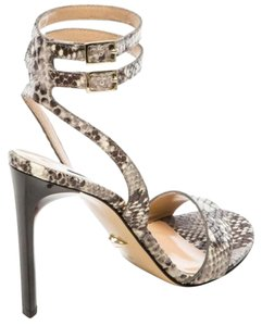 Diane von Furstenberg Snakeskin Leather Embossed Grey Sandals