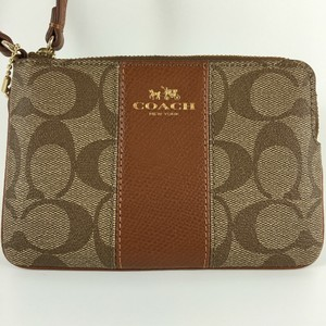 Coach Nwt Wallet Sginature Wristlet in Khaki Saddle