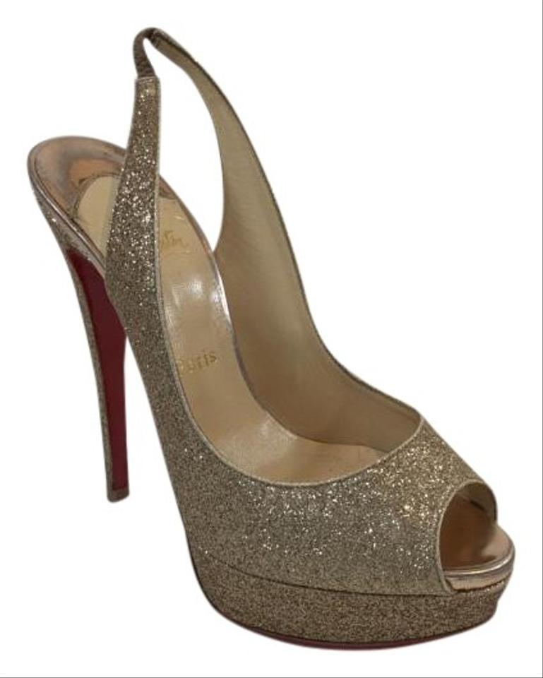 29b57d69055 Christian Louboutin Nude Lady Peep Sling 150 Platforms Size US 9 ...