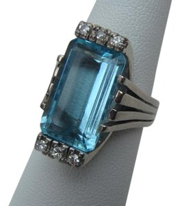 TF&S TF & S heavy 18K white gold 7.65CTW VS diamond/aquamarine cocktail ring size 7.5