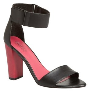 Charles by Charles David Leather Ankle Strap Heel Black and Pink Pumps