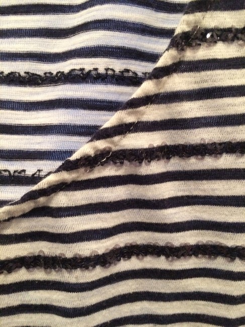J.Crew Sequins Stripes Nautical Top White and Navy