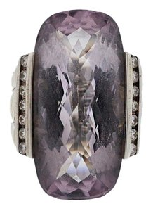 David Yurman David Yurman Deco Lavender Amethyst Elongated Silver Diamond Ring