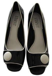 Franco Sarto Peep Toe Wedge Heel White Trim Black Patent Pumps