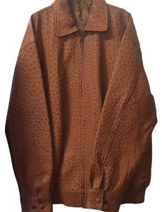 Ostriched Brown Leather Jacket