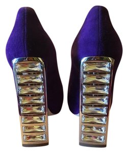 Miu Miu Heels Peep Toe Leather Prada Purple Pumps