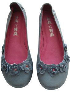Na*Na Ballet Applique Flowers Leather Unique Denim Blue Flats