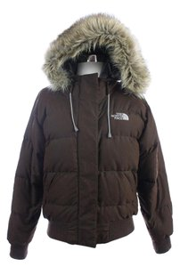 The North Face Hooded Puffer Faux Fur Lined Brown Jacket