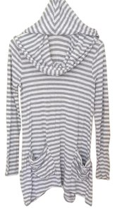 Saks Fifth Avenue Hooded Pockets Striped Flowy Tunic