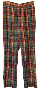 Cynthia Rowley Plaid Straight Pants Multi