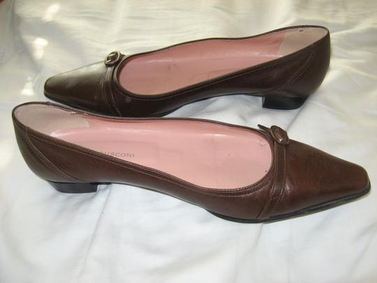 Fabio Rusconi Pointy Toe Italian Leather Designer Brown Flats Image 1