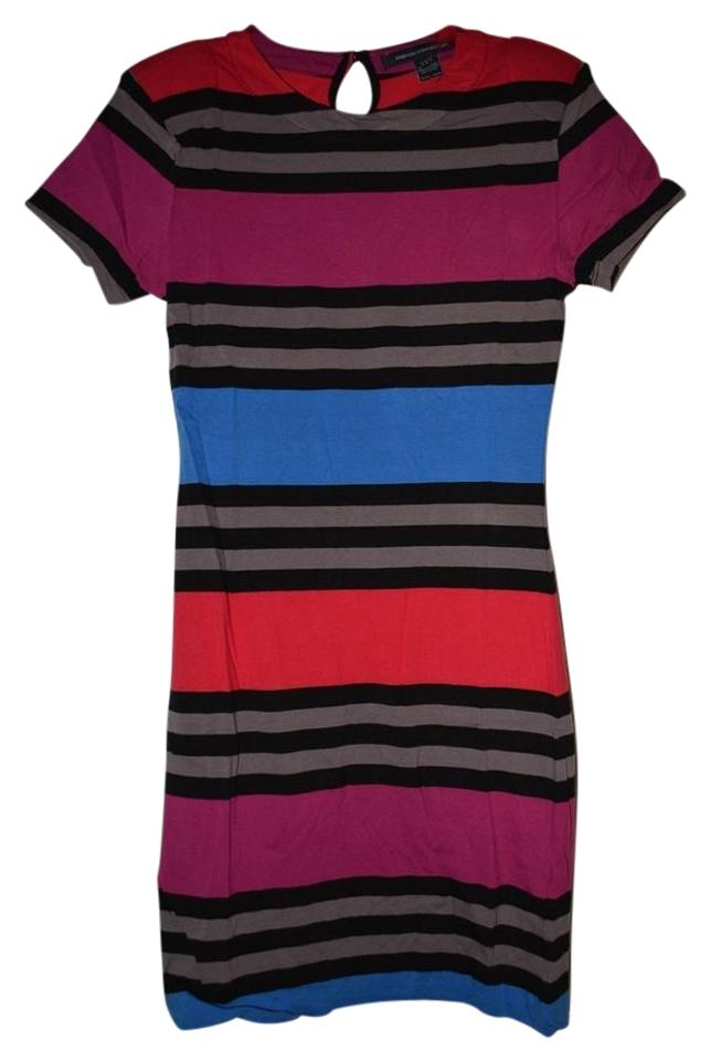 8622006e7e9 French Connection Multi Color Stripes Jersey Short Casual Dress. Size: 6 ...