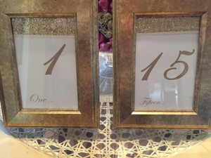 Custom Made Gold Table Numbers In Frames Tableware