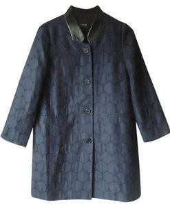Ann Taylor Black Blue Polka Dot Mid-weight Trench Coat