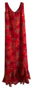 Red, Tan, Green floral pattern on lighter shade of red background Maxi Dress by Chico's