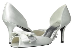Stuart Weitzman Embellished Pump Glitter Satin Silver Formal