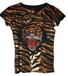 Ed Hardy And Rhinestone Tiger T Shirt Black with Gold