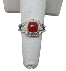 David Yurman Petite Albion Ring with Carnelian and Diamonds size 6 w/ pouch