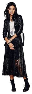 Free People New Lace Pleated Maxi Skirt Black