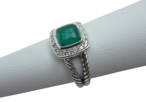 David Yurman DAVID YURMAN Petite Albion Ring with Green Onyx and Diamonds size 8 w/pouch