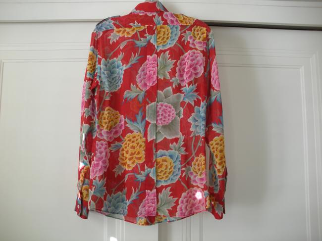 Dolce&Gabbana Button Down Shirt Red, With Gold, Pink, Blue, Green And White