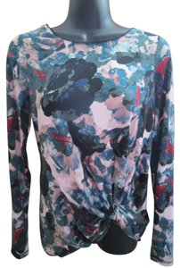 Simply Vera Vera Wang Abstract Stretchy Jersey Knit Top Multicolored