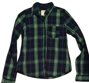 Abercrombie & Fitch Button Down Shirt Blue And Green Plaid