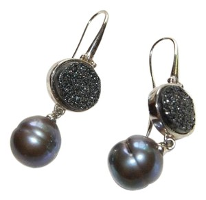 Honora Sterling Silver 11-12MM Ringed Freshwater Gray/Black Cultured Pearl with Gray Druzy Dangle Earrings