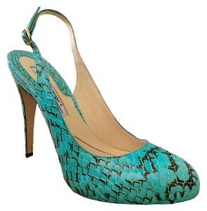 Brian Atwood Turquoise Snakeskin Pumps