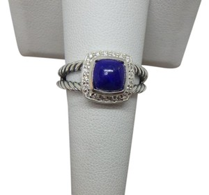 David Yurman Petite Albion Ring with Lapis Lazuli and Diamonds size 8 w/ pouch